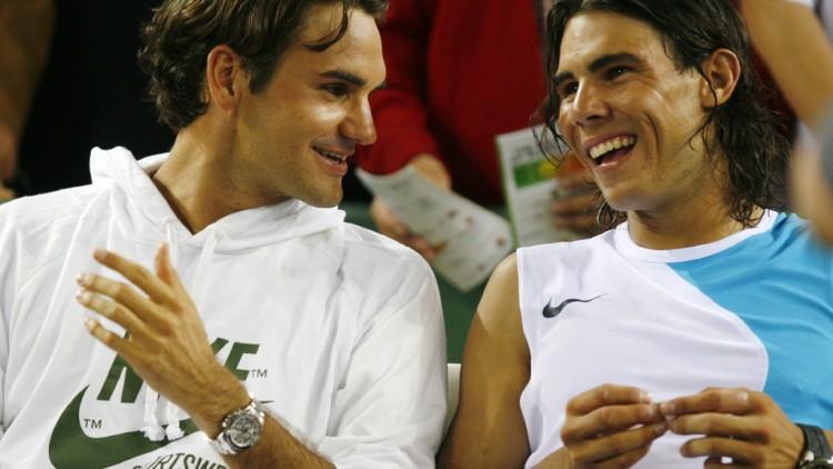 Nadal y Federer sufren un ataque de risa