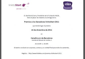 El próximo miércoles 14 de diciembre tendrá lugar la entrega de premios linktoStart 2011