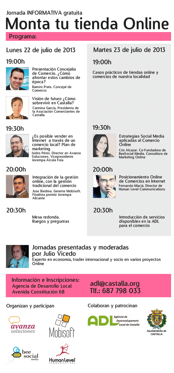 Monta tu tienda Online. Jornada gratuita en colaboración con la ADL de Castalla (Alicante)