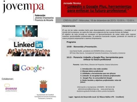 El 18 de diciembre estaré hablando de Linkedin y GooglePlus profesional en la Agencia de Desarrollo Local de Crevillent