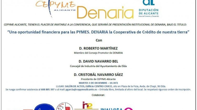 Una oportunidad financiera para las PYMES. Título de la presentación institucional que Denaria realiza en Elda este martes