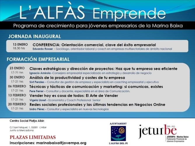 El 20 de febrero estaré en L'Alfàs Emprende hablando de redes sociales profesionales y las últimas tendencias en Negocios Online