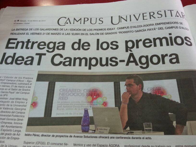 Mención en El Nostre de Alcoy con motivo de la entrega de los premios para emprendedores IdeaT Campus-Àgora