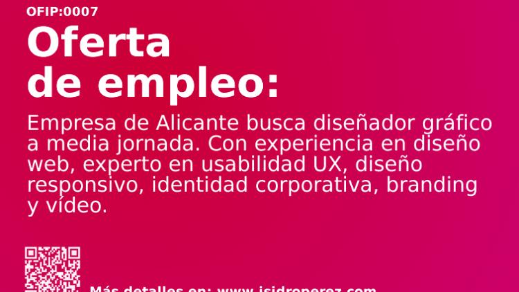Oferta de empleo Alicante: Se busca diseñador gráfico a media jornada.