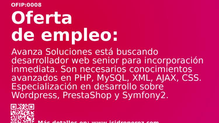 Oferta Empleo Alicante: Se busca desarrollador web senior para incorporación inmediata