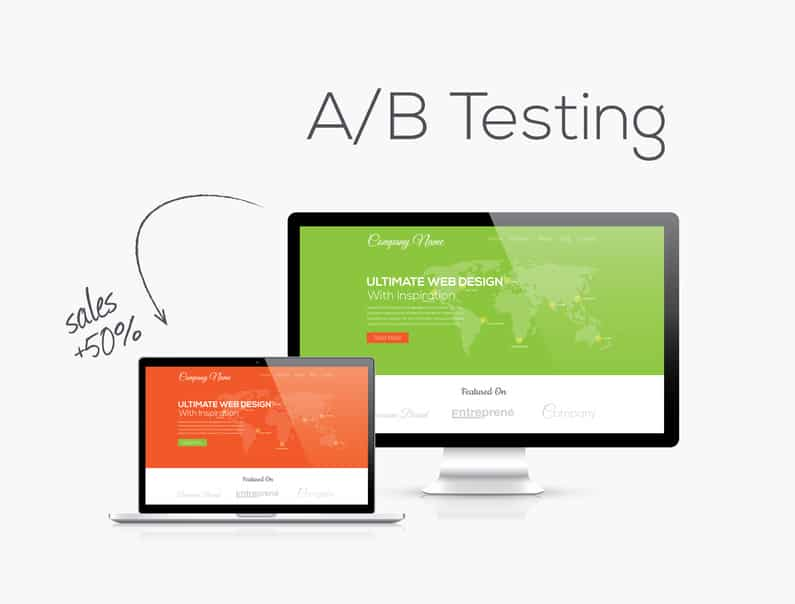 A/B testing optimization in website design vector illustration