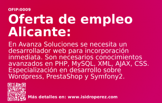 Oferta Empleo: Se busca desarrollador web Alicante para incorporación inmediata en Avanza