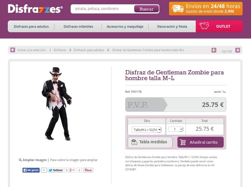Ejemplo de comercio electrónico Disfrazzes.com