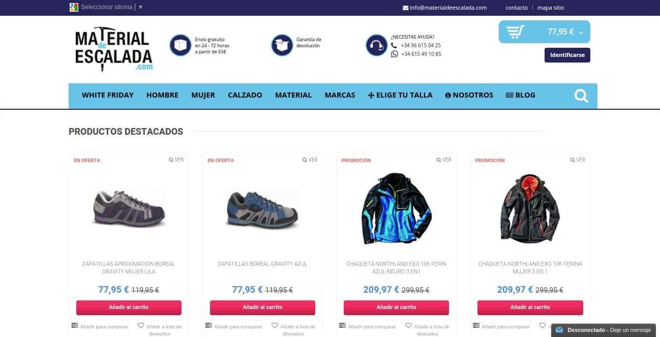 La tienda online de material de escalada.