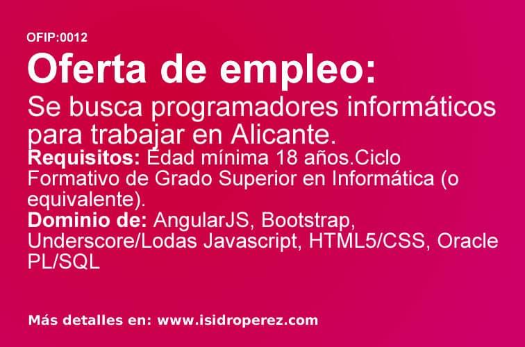 Oferta para programadores informáticos en Alicante