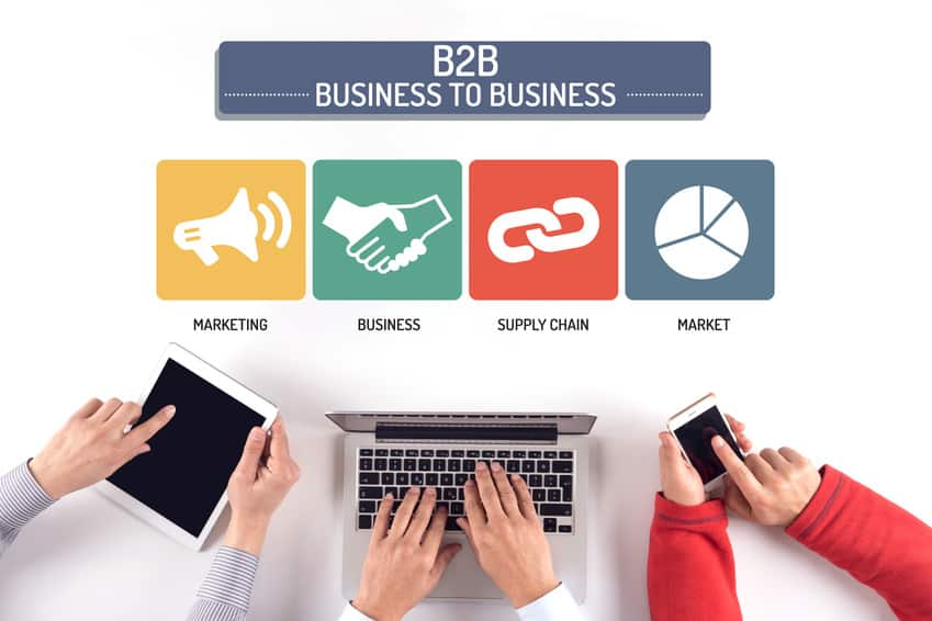 BUSINESS TEAM WORKING ON B2B CONCEPT