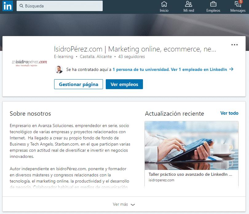 Ejemplo de Página de empresa en LinkedIn