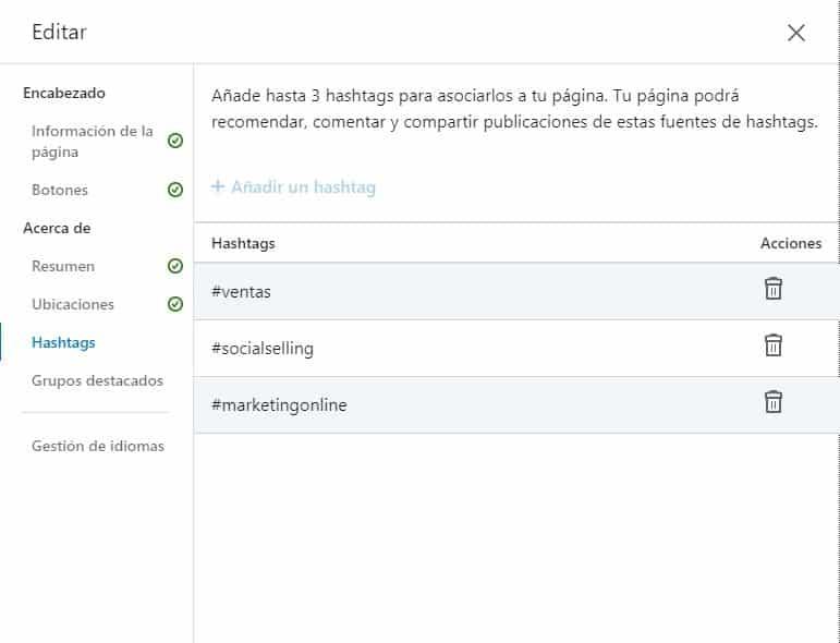 Editar Hastags en el perfil de empresa en LinkedIn