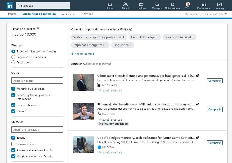 Sugerencias de contenido en tu página de empresa de LinkedIn